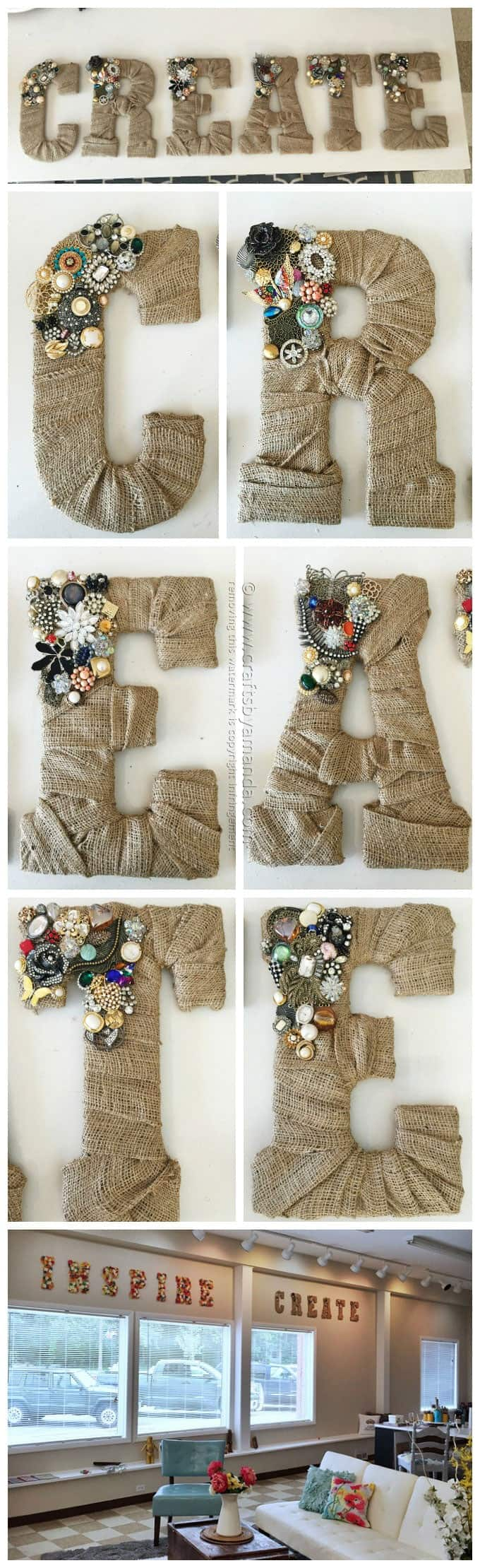 50 Crafts To Make and Sell - Easy DIY Ideas for Cheap Things To Sell on Etsy, Online and for Craft Fairs. Make Money with These Homemade Crafts for Teens, Kids, Christmas, Summer, Mother's Day Gifts. | Vintage Jewel Burlap Wall Letters #crafts #diy