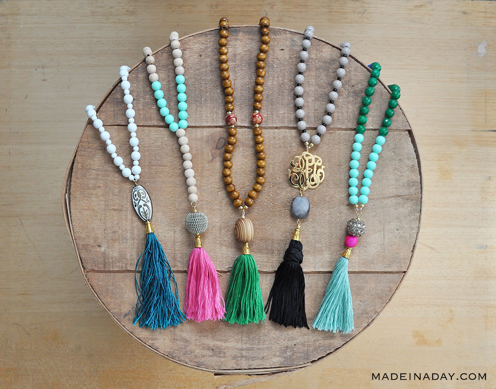 50 Crafts To Make and Sell - Easy DIY Ideas for Cheap Things To Sell on Etsy, Online and for Craft Fairs. Make Money with These Homemade Crafts for Teens, Kids, Christmas, Summer, Mother's Day Gifts. | DIY Beaded Tassle Necklaces #crafts #diy