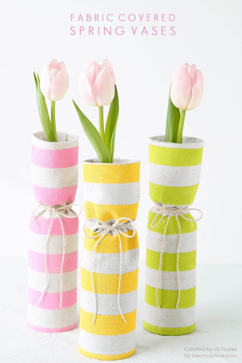 50 Crafts To Make and Sell - Easy DIY Ideas for Cheap Things To Sell on Etsy, Online and for Craft Fairs. Make Money with These Homemade Crafts for Teens, Kids, Christmas, Summer, Mother's Day Gifts. | Fabric Covered Spring Vases #crafts #diy