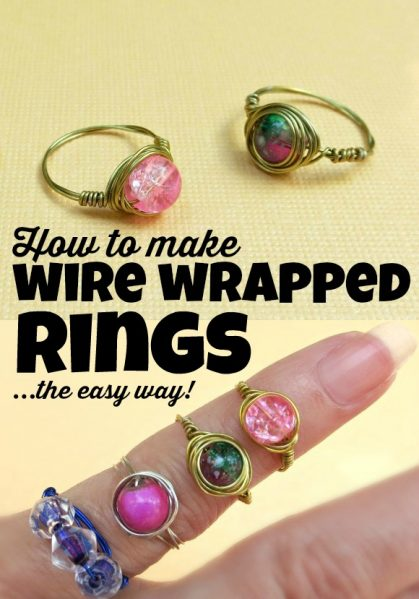 50 Crafts To Make and Sell - Easy DIY Ideas for Cheap Things To Sell on Etsy, Online and for Craft Fairs. Make Money with These Homemade Crafts for Teens, Kids, Christmas, Summer, Mother's Day Gifts. | Wire Wrapped Bead Rings #crafts #diy